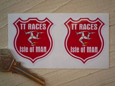 "Isle Of Man TT Races Manx Shield Stickers. 1.75""."