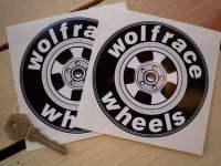 "Wolfrace Wheels Circular Stickers. 4.5"" Pair."