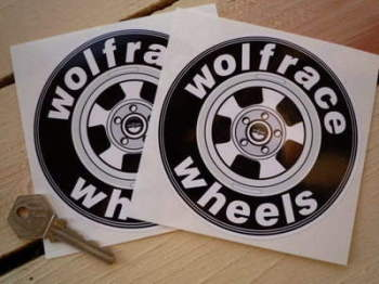 "Wolfrace Wheels Circular Stickers. 4.5"" Pair."