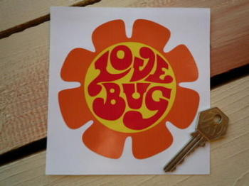 "Love Bug Flower Shaped Sticker. 4""."