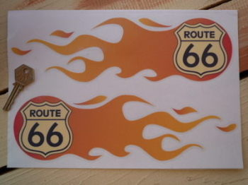 "Route 66 Flames Stickers. 6"" or 11"" Pair."