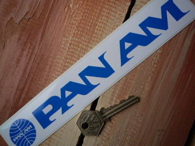 "Pan Am Plain Oblong Sticker. 8.5""."