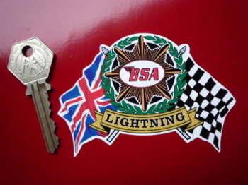"""BSA Flag & Scroll Various Models Sticker. 4""""."""