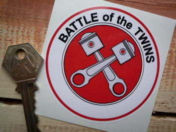 "Battle of the Twins Red & Grey H-D Ducati Sticker. 3""."