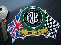 "Royal Enfield RE Flag & Scroll Various Models Sticker. 4""."
