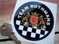 "Team Rothmans Round Sticker. 3.5""."