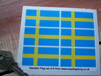 "Sweden Flag Stickers. Set of 6. 2""."