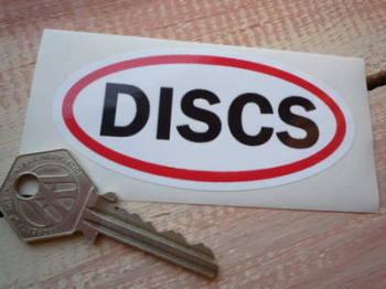 "Discs. Striped Disc Brake Warning Sticker. 4.75""."