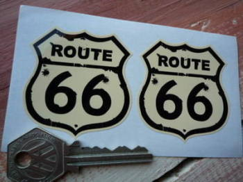 "Route 66 Bullet Hole Stickers. 2"" Pair."