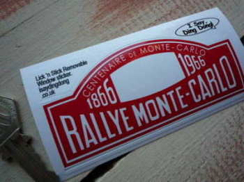 "Monte-Carlo Rallye Centenaire 1866 - 1966 Window Sticker. 4""."