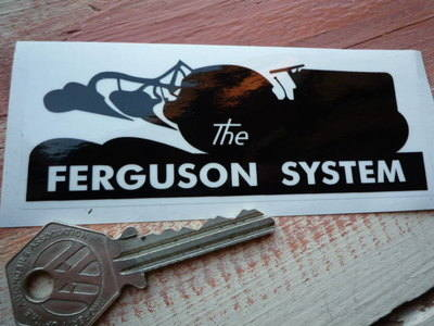 "Ferguson System Tractor Black & Clear Stickers. 4"" Pair."