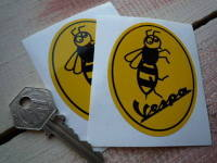 """Vespa Oval Wasp Stickers. 3"""" Pair."""