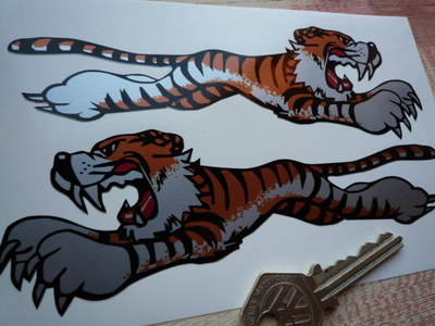 "Leaping Tiger Stickers. Silver. 4"" or 6"" Pair."