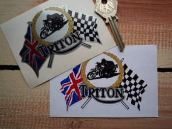 "Triton Flag & Scroll Sticker. 4""."