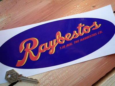 "Raybestos Brakes Blue Oval Sticker. 9.5""."
