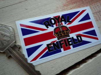 "Royal Enfield Crown & Union Jack Sticker. 3""."