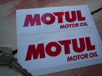 """Motul Motor Oil Red On White Oblong Stickers. 5"""" Pair."""