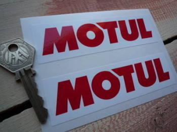 "Motul Plain Red On White Oblong Stickers. 4.5"" Pair."