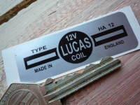Lucas Ignition Coil Sticker. Silver. Small. 12V. 23.