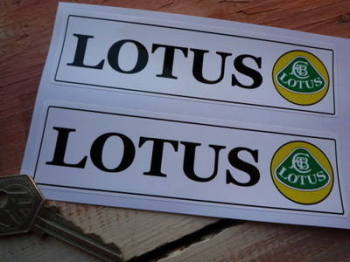 "Lotus Text & Logo Oblong Stickers. 5.5"", 7"" or 11"" Pair."