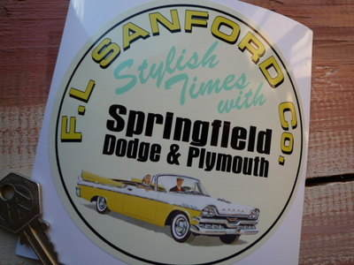 "Dodge & Plymouth Springfield F.L.Sanford Sticker. 5""."