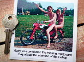 "Harry's Missing Mudguard Rude Naked Sticker. 3.5""."