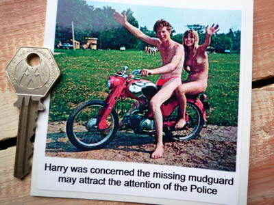 """Harry's Missing Mudguard Rude Naked Sticker. 3.5""""."""