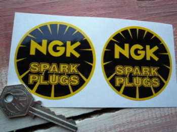 "NGK Spark Plugs Black & Yellow Round Stickers. 2.5"" Pair."