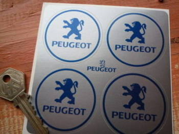Peugeot Blue on Silver Wheel Centre Style Stickers. Set of 4. 50mm.