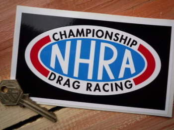 "NHRA Championship Drag Racing Black Oblong Sticker. 6""."