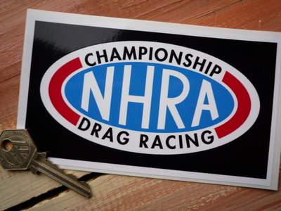 NHRA Championship Drag Racing Black Oblong Sticker. 6