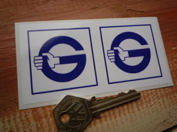 "Girling G Blue & White Square Stickers. 2"" Pair."