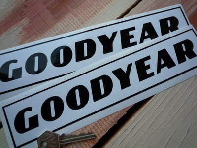 "Goodyear Text  Black on White Oblong Stickers. 10"" Pair."