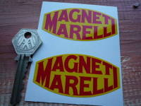 Magneti Marelli Old Serif Style Yellow & Red Stickers. 2.75