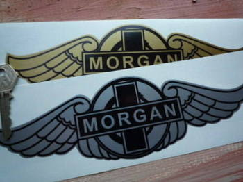 "Morgan Winged Logo Sticker. 6"" or 9""."