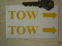 """TOW Racing Car Text & Arrow 'Serif' Stickers. 4"""" Pair."""
