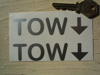 "TOW Racing Car Text & Arrow 'Bubbly' Stickers. 4"" Pair."