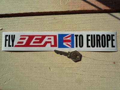 "BEA Fly BEA To Europe Sticker. 10.5""."