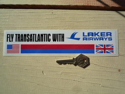 "Laker Airways 'Fly Transatlantic With Laker Airways' Sticker. 9""."