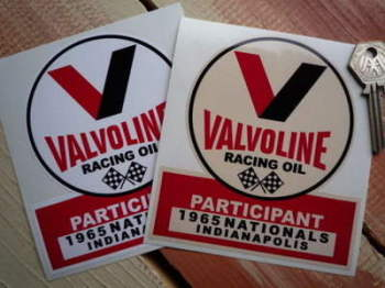 "Valvoline Racing Oil Indianapolis 1965 Participant Sticker. 4.5""."