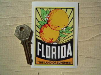 "Florida ""The Land of Sunshine"" Sticker. 3.5""."