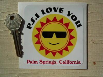 "California Palm Springs 'P.S. I Love You' Sticker. 3.5""."