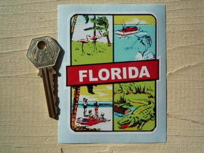 "Florida Sun, Sea, Beach, Nature, Sticker. 3""."