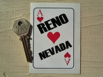 "Reno Nevada Playing Card Sticker. 2.5""."