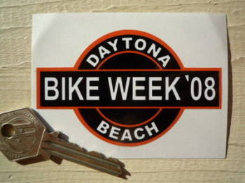 "Daytona Beach Bike Week 2008 Sticker. 3.5""."