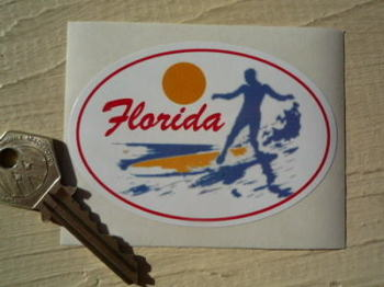 "Florida Surfer Sticker. 3.5""."