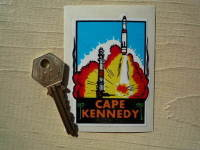 "Florida Cape Kennedy Sticker. 3.25""."