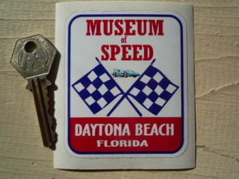 "Florida Daytona Beach Museum of Speed Sticker. 2.75""."