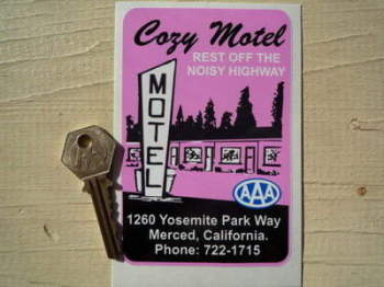 "California AAA Cozy Motel Sticker. 5""."