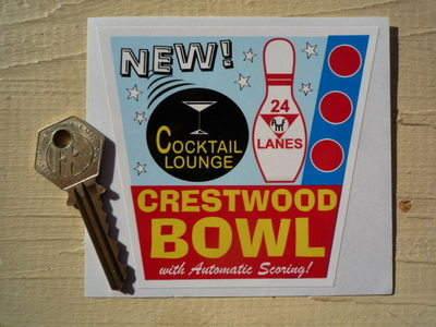"Crestwood Bowl & Cocktail Lounge Sticker. 4""."